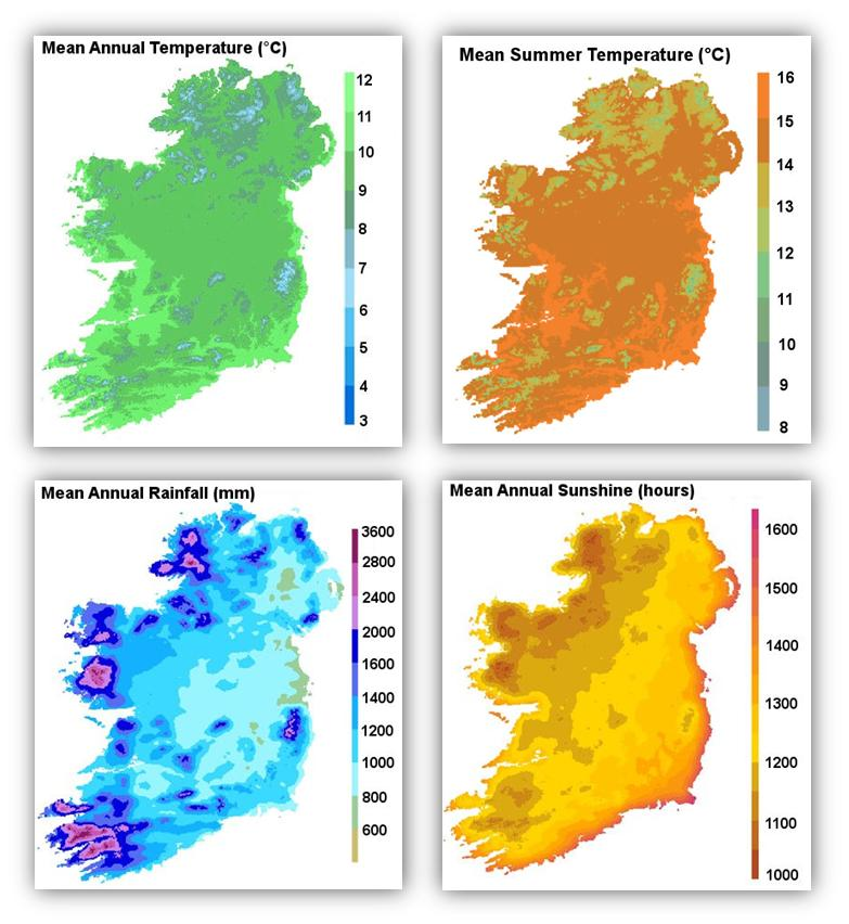 weather and climate maps for Ireland